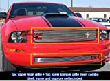 APS Compatible with 05-09 Ford Mustang V6 Billet Grille Combo Upper+Lower Bumper F67984A