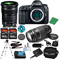 Canon EOS 5D Mark IV Camera with 24-105mm IS STM Lens + 75-300mm III Zoom + 2pcs 16GB Memory + Camera Case + Card Reader + Professional Tripod + 6pc Starter Set - International Version