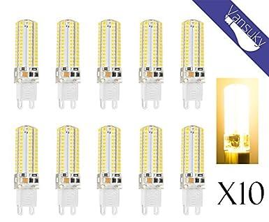 10 x 6W LED bombilla G9, 104 LEDs cálido blanco SMD 3014 AC220V, super luminoso 500lm ángulo 360 grados.: Amazon.es: Iluminación