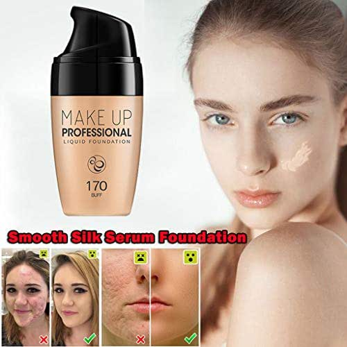 kloiu96 Smooth Silk Serum Foundation - Professional Full Coverage Oil Control Waterproof Long-Lasting Liquid Foundation, Suitable for All Skin Types - Perfect Skin