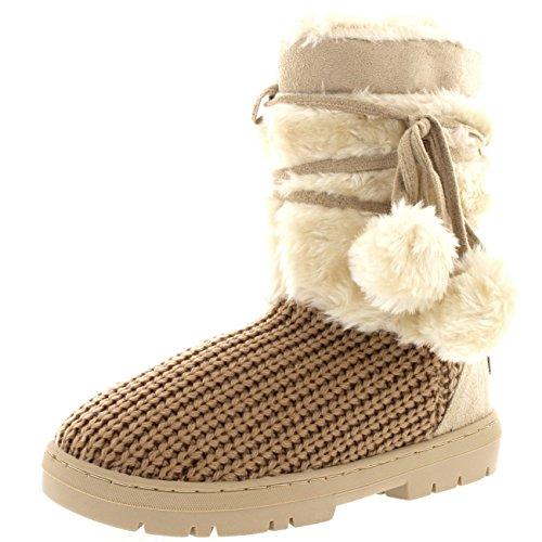 Mujer Pom Pom Corta Invierno Forrada De Piel Nieve Lluvia Zapato Botas Beige De Punto