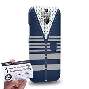 Case88 [HTC One M8] 3D impresa Carcasa/Funda dura para & Tarjeta de garantía - Art Hand Drawing Blue Cardigan