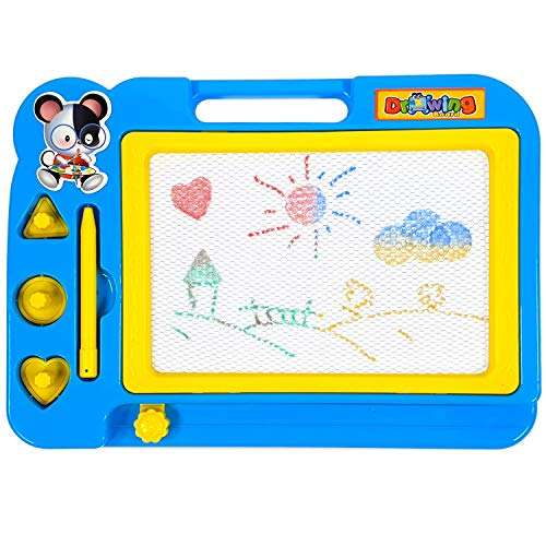 Small Magnetic Drawing Board Toy for Kids Future Artists Multi-Color Writing Drawing Doodle Screen Sketching Colorful Shapes Doddle Toy Mobile Doodle Pad with Magnetic Stamps Erasable Travel Magnetic