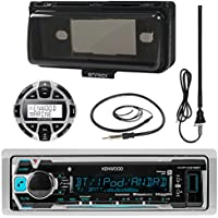 Kenwood KMRM318BT MP3/USB/AUX Marine Boat Yacht Stereo Receiver Bundle Combo With Protective Cove + Wired Remote Control + Enrock Water Resistant 22 Radio Antenna + Outdoor Rubber Mast 45 Antenna