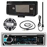 """Kenwood KMRM318BT MP3/USB/AUX Marine Boat Yacht Stereo Receiver Bundle Combo With Protective Cove + Wired Remote Control + Enrock Water Resistant 22 Radio Antenna + Outdoor Rubber Mast 45"""" Antenna"""