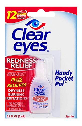 Clear Eyes Redness Relief Pack of 3 0.2 FL OZ ( 6 ml) - Handy Pocket Pack