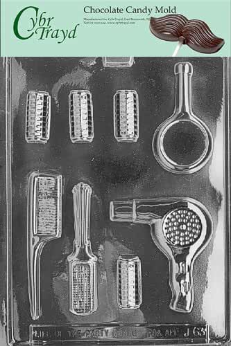 Cybrtrayd J063 Beautician Set Chocolate Candy Mold with Exclusive Cybrtrayd Copyrighted Chocolate Molding Instructions