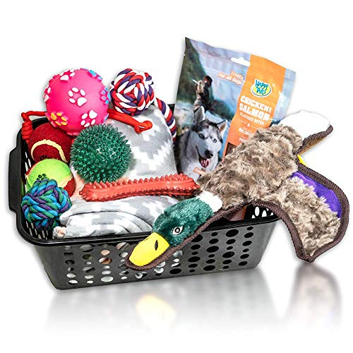 Just Chill'In Pets Dog Gift Basket with Durable Dog Toys - Dog Blanket 50 x 60 inches- Storage Basket Great for Easter Dog Gifts, Dog