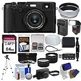 Fujifilm X100F Wi-Fi Digital Camera (Black) with Leather Case + 64GB Card + Flash/Video Light + Battery & Charger + Tripod + Tele/Wide Lens Kit