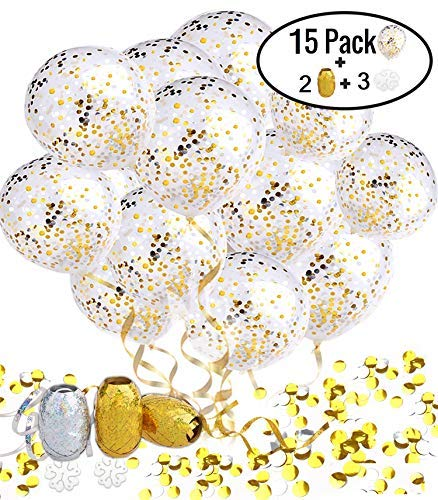 TrueGold Gold Glitter Balloons Silver Confetti Balloons 20 Pack | Curling Ribbon Rolls & Flower Clips | Balloons with Confetti Foil Dot Mylar | for Unicorn Birthday Party Wedding