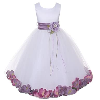 1bfb8392b57 Image Unavailable. Image not available for. Color  Kids Dream White Satin  Lavender Petal Flower Girl Dress ...