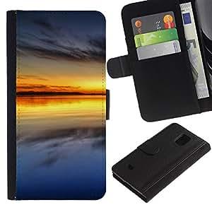 KingStore / Leather Etui en cuir / Samsung Galaxy S5 Mini, SM-G800 / Sunset Beautiful Nature 64