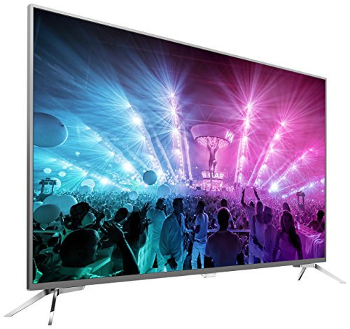 Philips 55PUS7101/12 139,7 cm (55 Zoll) Ultraflacher Android 4K-Fernseher mit 3-seitigem Ambilight und PixelPrecise Ultra HD dunkelsilber