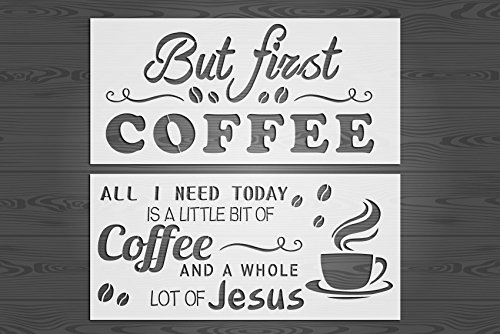GSS Designs 2 Word Art Stencil Set for Wood Sign (8x17 inch) But First Coffee Wall Stencil Home Decor,Calligraphy Stencils for Painting on Wood, DIY Farmhouse Decor, Create Word Stenciled Signs
