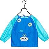 OLizee Long Sleeve Waterproof Art Smock with Front Pocket Cartoon Robot Kids Painting Apron Bib for Eating, Dark Blue L
