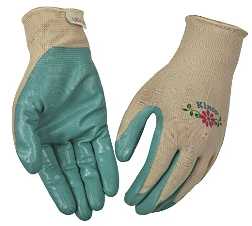 KINCO 1891W-L Women's Nitrile Gripping Gloves, Tan Knit Shell, Large, Green