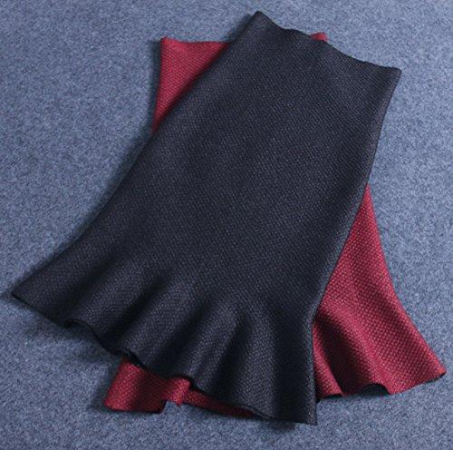 Helan Mujeres color puro Fishtail medio cuerpo que hace punto de la falda Negro