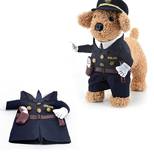 Cop Dog Costume (Harukokoro(TM)Funny Halloween Pet Police/Cops Costume Dog Cat Cosplay Costume For Small Dogs, Puppy, Medium Dogs, Large Dogs, Cat.(S))