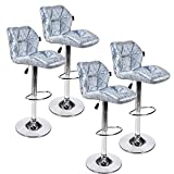 Set of 4 Bar Stools Modern Hydraulic Adjustable Swivel Barstools,Flannel Padded with Back, Dinning Chair with Chrome Base (Blue Flannel 4)