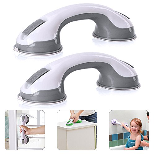 YOUDirect Grab Bar - Strong Suction Cup Balance Assist Bar Anti-slipping Handle Grip Safety Hand Rail Helping Tool Wall Mount Bathroom Balance Bar (2 Pcs Grey)