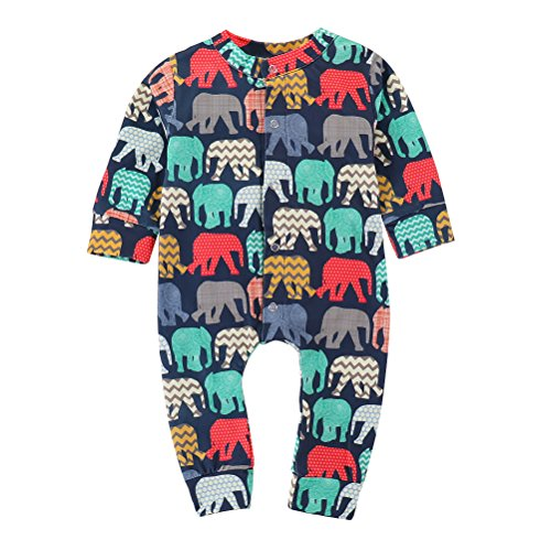 XiaoReddou Baby Autumn Romper Long Sleeve Elephant Print Bodysuit One-Pieces Outfits (Elephant, 0-6 Months)