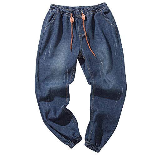 WOCACHI Men's Denim Pants Jogger Jeans Cotton Vintage Wash Hip Hop Work Trousers 2019 Spring Elastic Drawstring July 4th Boyfriend Gift Sports Casual Dress Pants Under 15 30% Off Deals -