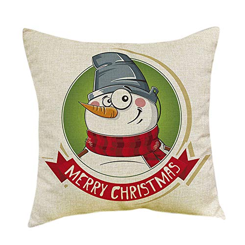 LOKODO Christmas Cartoon Print Dyeing Throw Pillowcase Sofa Bed Home Decor Pillow Cover Cushion Cover Lumbar Pillowcase 45cmX45cm/18X18]()
