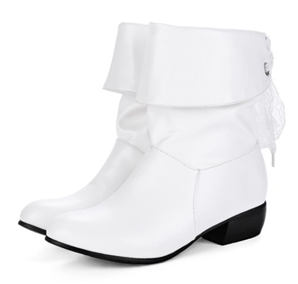 Aisun Women's Casual Laces Round Toe Ruched Pull On Block Low Heel Mid Calf Slouchy Boots (White, 8.5 B(M) US) by Aisun (Image #2)