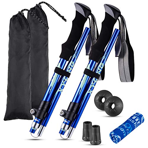 XYCING Trekking Poles Collapsible - 2 Pack Adjustable Auminum Alloy Hiking Poles, Foldable Lightweight Hike Walking Sticks for Hiking Camping (Blue)
