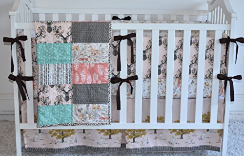 Autumn Fawn Crib Bedding, antlers, deer, fawn, sheet, quilt , skirt by M&G Baby Glam
