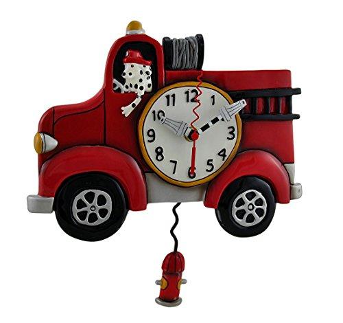 Allen Designs Red Fire Engine Pendulum Wall Clock 13 in.