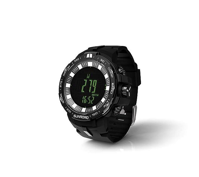 SUNROAD Deportes Al Aire Libre Pesca Barómetro Altimetro Digital Reloj De Hombre: Amazon.es: Relojes