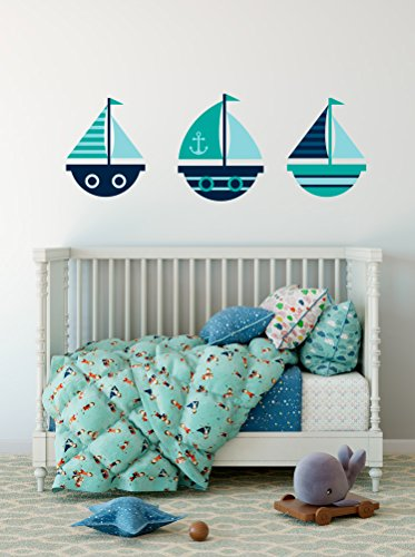 Cute Sailboats Set of 3 Wall Decal Vinyl Home Decoration - 15