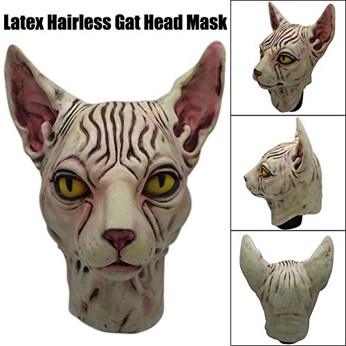 charts_DRESS Full Over Head Mask Hairless Cat Latex Horse Head Mask Costume Collectible Prop Scary M Charts_Dress -