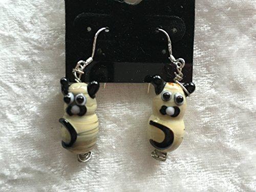 3d siamese cat lampworked glass sterling silver dangle earrings
