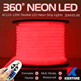 KERTME 360° Neon Led Type AC 110-120V 360 Degree NEON LED Light Strip, Flexible/Waterproof/Dimmable/Multi-Modes LED Rope Light + Remote for Home/Garden/Building Decor (65.6ft/20m, Red)