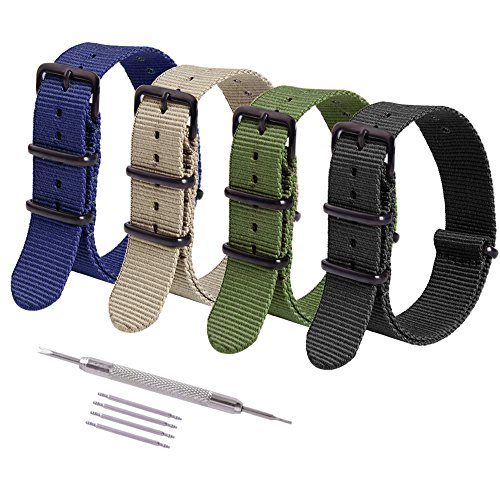 Ritche 4PC 16mm Nato Strap Nylon Watch Band Replacement Timex Weekender Expedition Daniel Wellington Watch Straps for Men - Hours Wellington Green