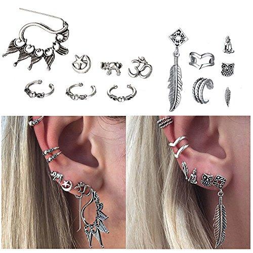 Cuff Earrings Set Ear Crawler Earring Climber Stud Ear Wrap Pin Vine Tribal Charm Vintage Clip On Jewelry Silver Elephant Star 3D Bird Leaf Owl (Leaf Vine Star)