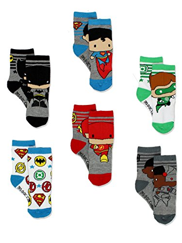 Batman Justice League Boy's 6 pack Athletic Crew Socks (2T-3T, Multi) ()