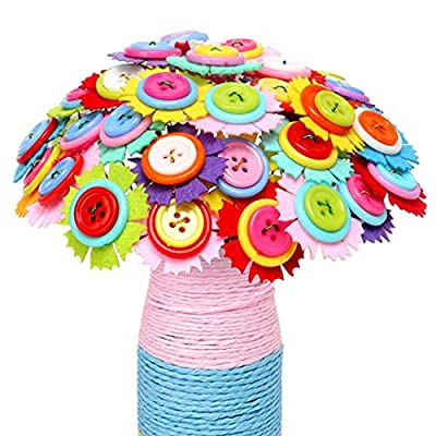 Corgy Mother's Day Children's Handmade Creative Simulation DIY Button Bouquet Flower Pressing: Clothing