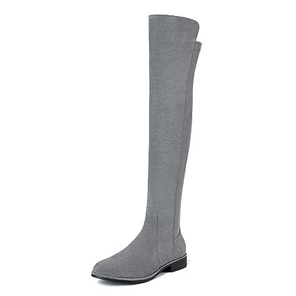 a0d54af917a Botas largas sobre la rodilla Zapatos de mujer 2018 Botas de estiramiento  de tubo largo de ...