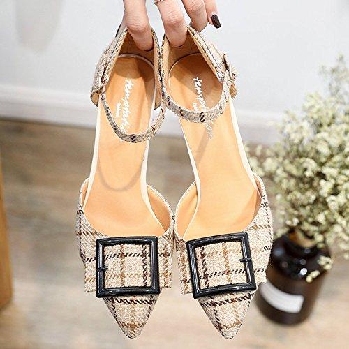 Xue Qiqi Mädchen Baotou Sandalen mit antiken Grid geschlitzten geschlitzten geschlitzten Binden und vielseitige high-heel Schuhe und 36 Beige - Wenn es einen Riegel 34099d
