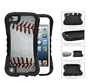 Baseball Red Stitching Close-up 2-Piece Dual Layer High Impact Rubber Silicone Case Cover Apple iPod Touch 5th Generation