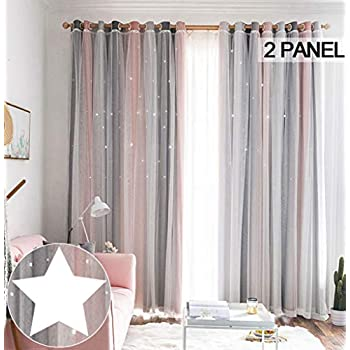 STFLY Kids Star Blackout Curtains Star Curtains for Girls Boys Bedroom 2 Panels Stripe Tulle Overlay Curtain Double Layer Sparkle Star Cut Out Curtains (Stripe Pink, 52