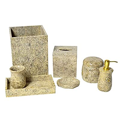 Polished Marble 7-Piece Bath Set, Fossil Shower and Bathroom Accessory - Genuine marble with natural variations Uniquely hand crafted Set includes soap dish, lotion pump, tumbler, tissue box and wastebasket - bathroom-accessory-sets, bathroom-accessories, bathroom - 51zrW%2BsoiuL. SS400  -