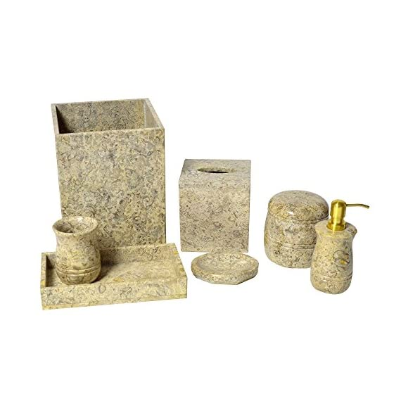 Polished Marble 7-Piece Bath Set, Fossil Shower and Bathroom Accessory - Genuine marble with natural variations Uniquely hand crafted Set includes soap dish, lotion pump, tumbler, tissue box and wastebasket - bathroom-accessory-sets, bathroom-accessories, bathroom - 51zrW%2BsoiuL. SS570  -