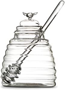 Frjjthchy Clear Borosilicate Glass Honey Jar Pot with Dipper and Dustproof Lid for Home Kitchen