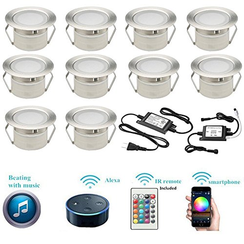 LED Deck Lights Kit, 10pcs Φ1.85'' WiFi Wireless Smart Phone Control Low Voltage Recessed RGB Deck Lamp In-ground Lighting Waterproof Outdoor Yard Path Stair Landscape Decor, Fit for Alexa,Google Home by Sumaote (Image #5)