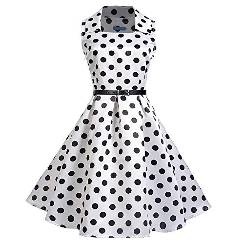 Women Dresses Godathe Women Vintage Square Collar Sleeveless Dot Printed Evening Party Swing Dress S-2XL -