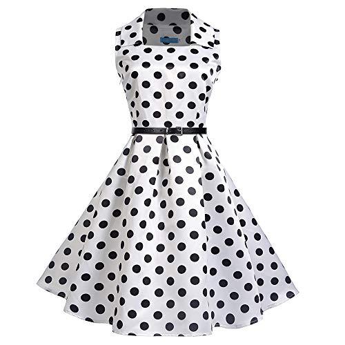 JESPER Women Vintage Square Collar Sleeveless Dot Printed Evening Party Swing Dress US 4/6 White by JESPER
